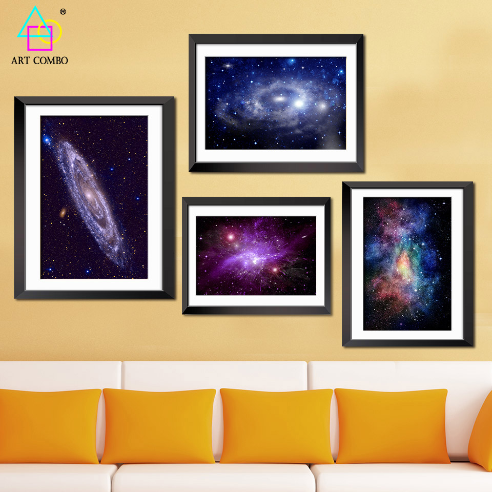 Modern Universe Landscape Art Painting Galaxy Fabric Wall Picture On ...