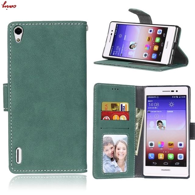 Mince nouvelle housse en cuir givré pour Huawei Ascend P7 LTE P7-L10 Coque de téléphone pour Coque Huawei P7 P 7 HuaweiP7 fentes à rabat carte Capa <
