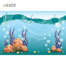 Laeacco Cartoon Coral Seabed Underwater Baby Portrait Photography Background Custom Photographic Backdrops For Photo Studio