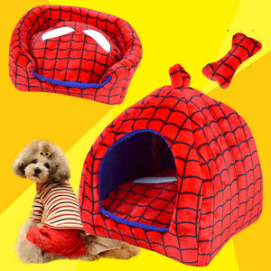 Hond Bed Kind Spiderman Bed Verwijderbare Cover Dot Roze Bone Speelgoed Ademend Bedden Voor Middelgrote Honden Huisdier Bed
