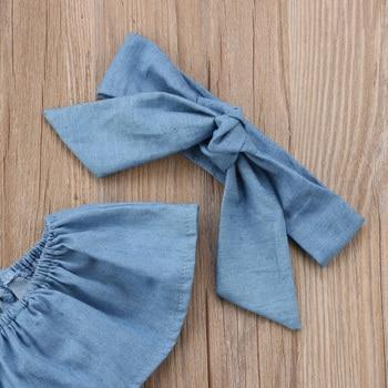 2Pcs Newborn Kids Ruffles Denim Romper Baby Girls Front Bowknot Jumpsuit Outfits Clothes 1
