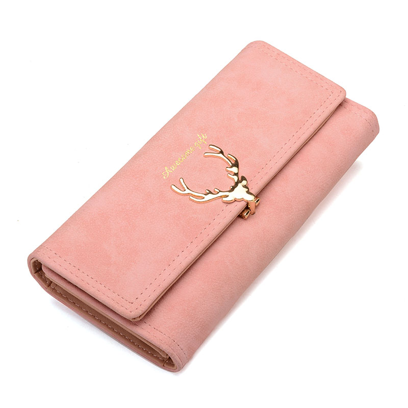 2017 New Fashion Wallet Female Women Purse Long Zipper Solid Candy Color Metal Christmas Deer Wallets PU Card Holders Design jacques lemans jl lp 113c