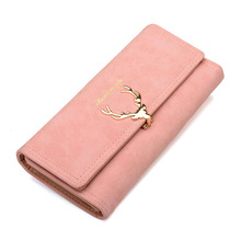 2017 New Fashion Wallet Female Women Purse Long Zipper Solid Candy Color Metal Christmas Deer Wallets PU Card Holders Design