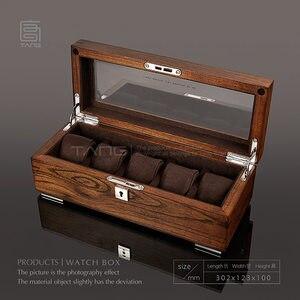 Caja de almacenamiento de reloj de madera con 5 ranuras Tang, caja de almacenamiento de reloj mecánico para hombre, caja de regalo con pantalla de madera W058