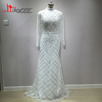 LIYATT 2018 New Arrival White Luxury Sexy Mermaid Long Sleeves Heavy Beading Formal Evening Prom Dresses