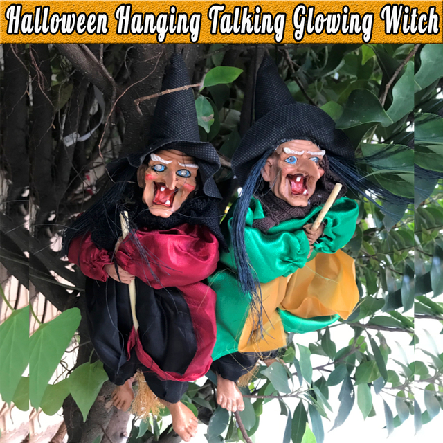 31cm Halloween Hanging Witch Talking Voice Control House Hanging Horror Props Home Door Bar Club Halloween Decorations