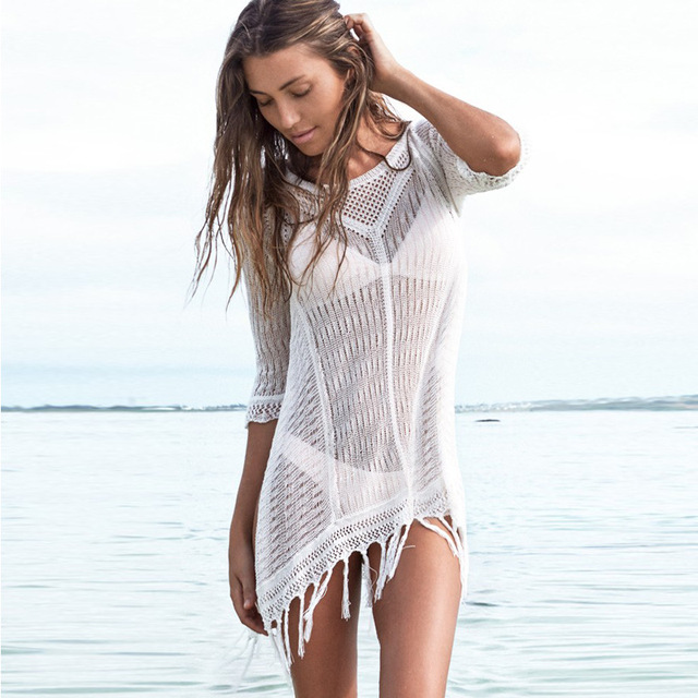 9e8a7fb829a 2019 Sexy Mesh Women Bikini Cover Up Long Tassels Summer Pareo Beach Wear  Cover-Ups Swimsuit Hollow Crochet Beach Dress Tunic
