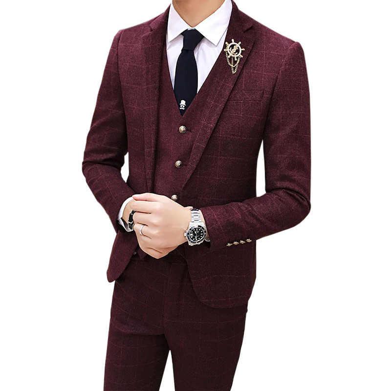 ヴィンテージチェック柄スーツ 3 ピースツイードスーツメンズ Terno ドス Homens グレー赤、緑スーツメンズウェディング衣装 Terno スリムフィットスーツ