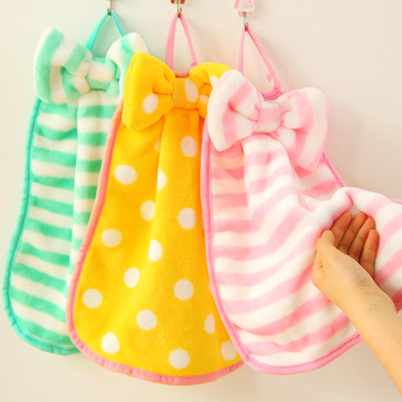 Sweet cute butterfly knot thickened coral velvet can hang towel super soft children bathroom suction kitchen use