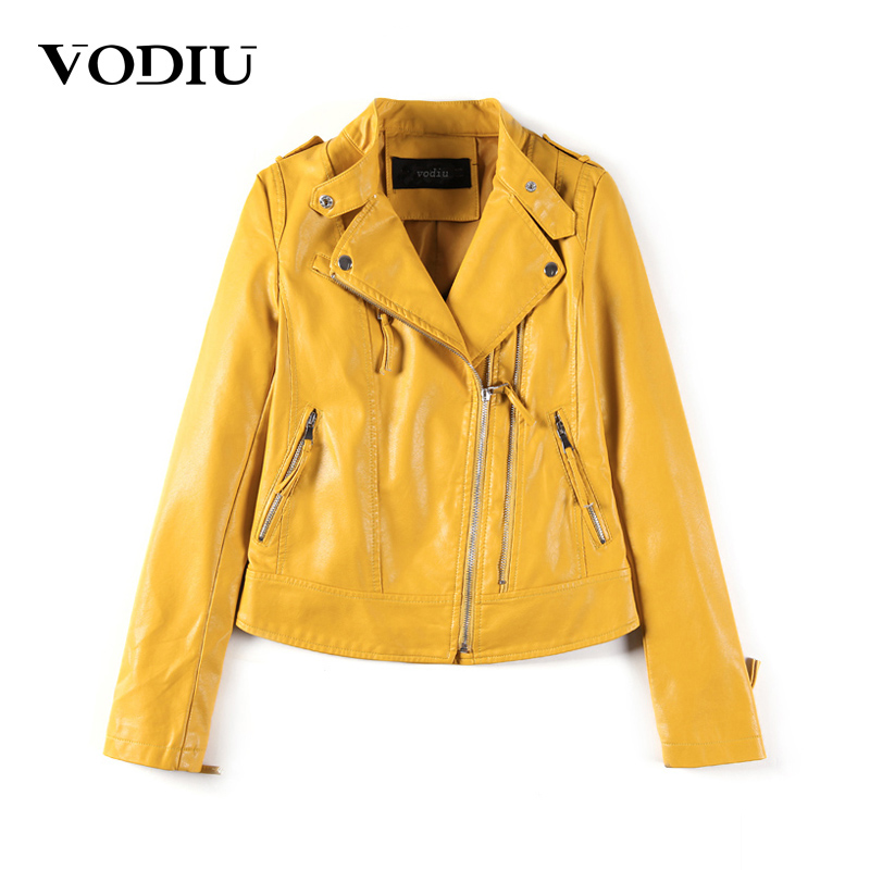 Vodiu Faux   Leather   Coat Women   Leather   Jacket Bomber Jacket Solid Epaulet Lether Jackets Female Zippers Autumn 2017 Outerwear Top