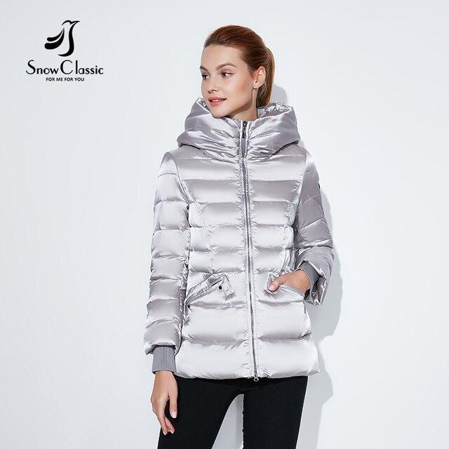 Snowclassic 2018 зимняя короткая куртка Модные женские толстые пальто теплые куртки капюшон регулируемый пояс, с хлопковой подкладкой