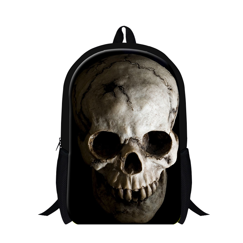 2016 Fashion Cool Mojo Style Skeleton Mens Shoulder Backpack Street Punk Rock Skull Print Children School Bags Kids Rucksack