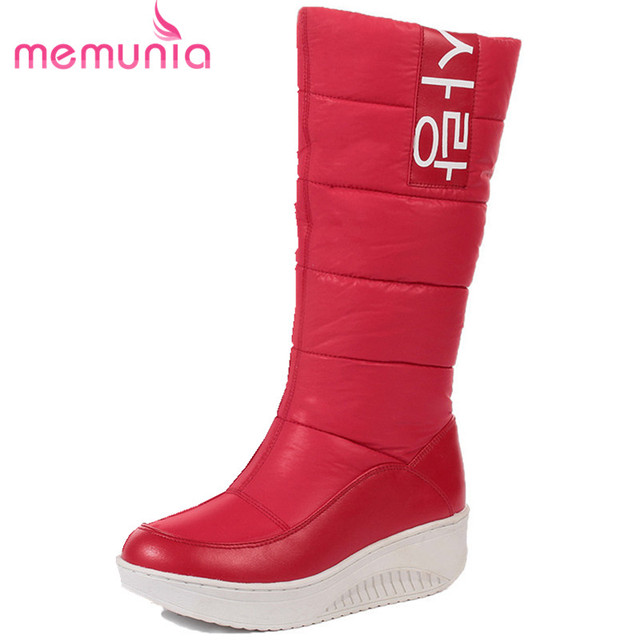 Ladies Snow Boots Wedges Heels Slip on Women Winter Boots Fur Inside Mid Calf Boots Sweet Shoes