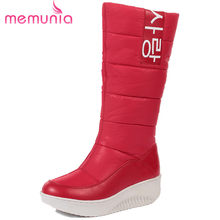 MEMUNIA SIZE 35-44 Ladies snow boots wedges heels slip on women winter boots fur inside mid calf boots female sweet cotton shoes(China)
