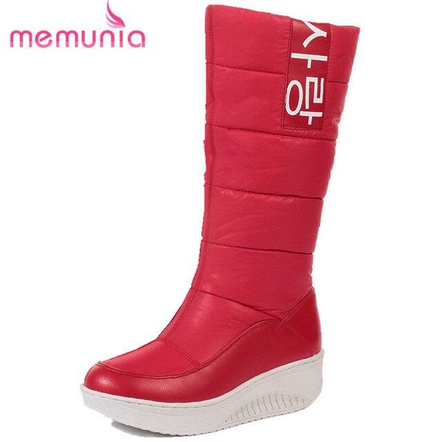 Memunia/размер 35-44 женские зимние сапоги на танкетке без шнуровки женские зимние ботинки на меху до середины икры сапоги Элегантные туфли