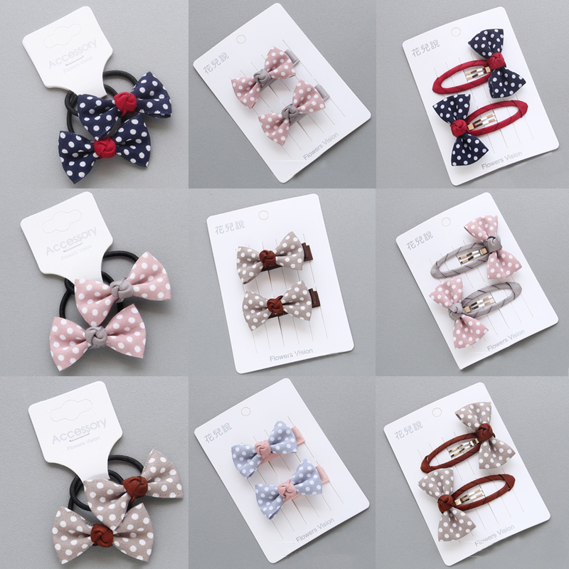 Hot 1Pair Elastic Hair Band Adjustable Children Cloth Kids Wave Point Princess Hair Clips Girls Kids Bowknot Hair Accessories