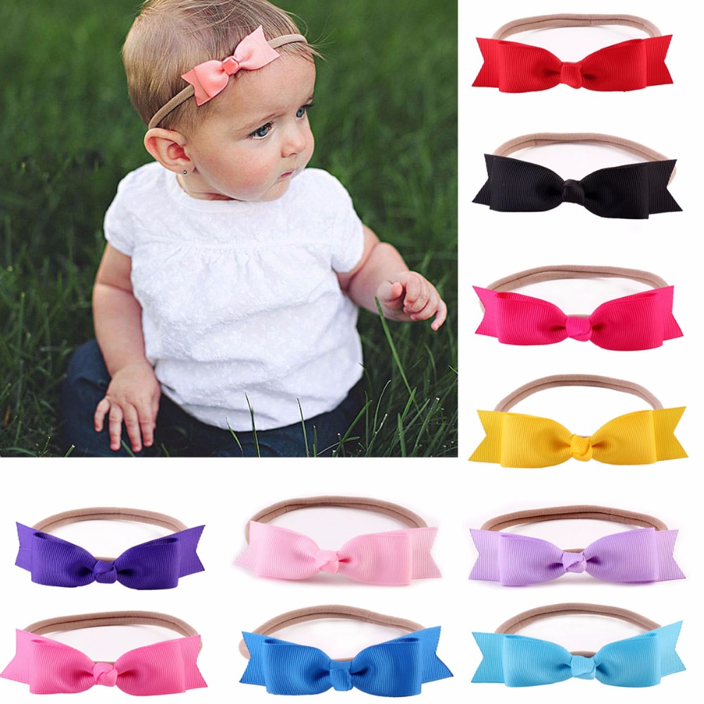 Handmade Two Layer Bow Headband Solid Colors With Elastic Nylon Hair Band For Newborn Kids Headband Headwear Hair Accessories 3pcs lot lovely printed floral fabric bow headband striped dots knot elastic nylon hair band for girl children headwear