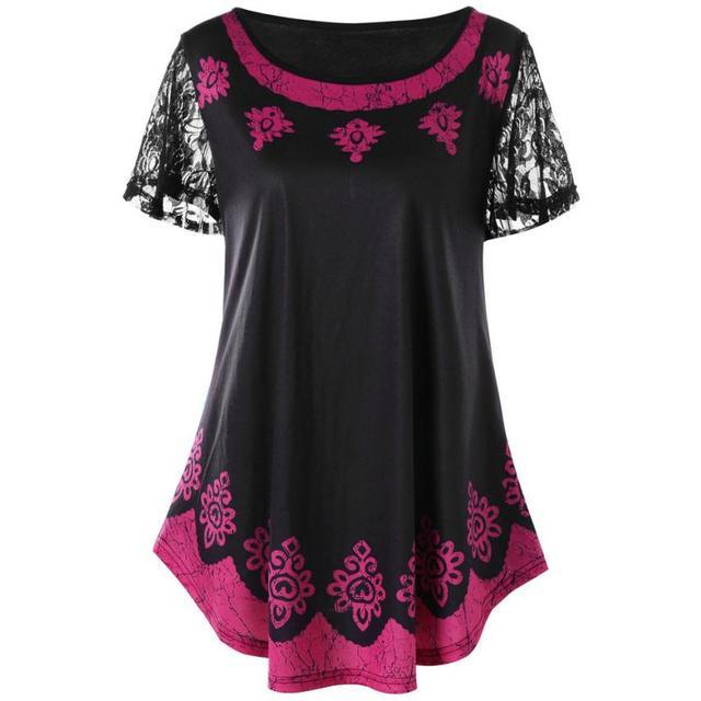 2b4dd8e0d5b717 Women Blouses Casual Lace Plus Size 5XL Tribal Print Shirt Tops Blouse Lace  Short Sleeve Shirt O Neck Blouses Roupas#RBC