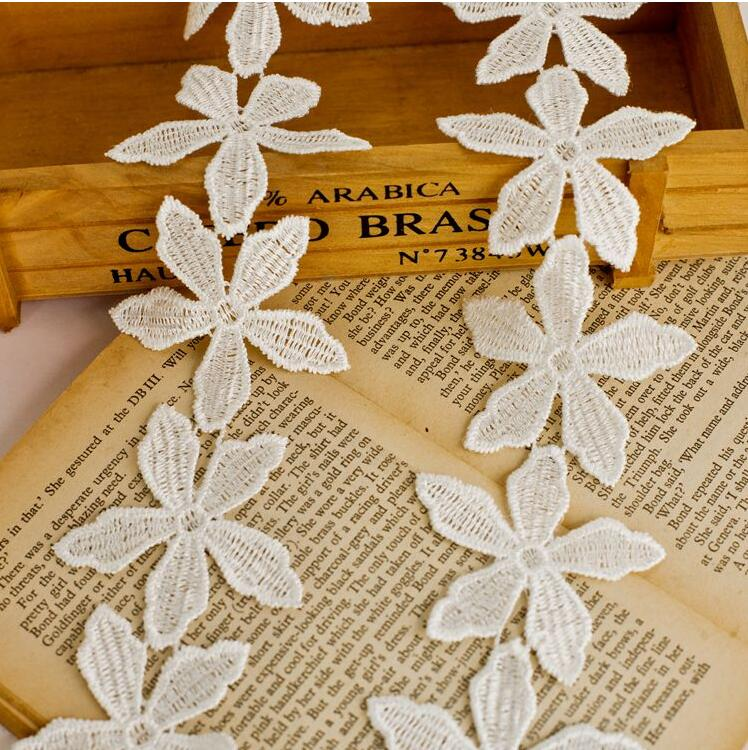 Hot Sale 10m/lot Width5.5cm Novelty Diy Lace Fabric/white Water Soluble Lace /childrens Decoration Accessories Hair Accessories Elegant In Smell Home & Garden