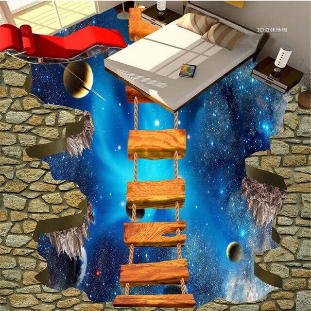 Beibehang 3d vloeren custom waterdicht behang cosmic sky opgeschort ...