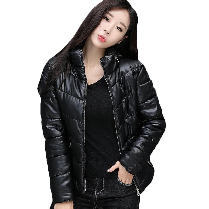 2019 Leather Jacket Women Autumn Winter   Parkas   Short Outerwear Casual warm Hooded Tops Women PU Leather Down Jackets Coats X986