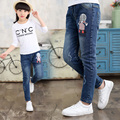 Spring Autumn 2017 Cartoon Girl Print Jeans For Girls Kids Ripped Jeans Fashion Jeans For Teenagers Girl Denim Jeans
