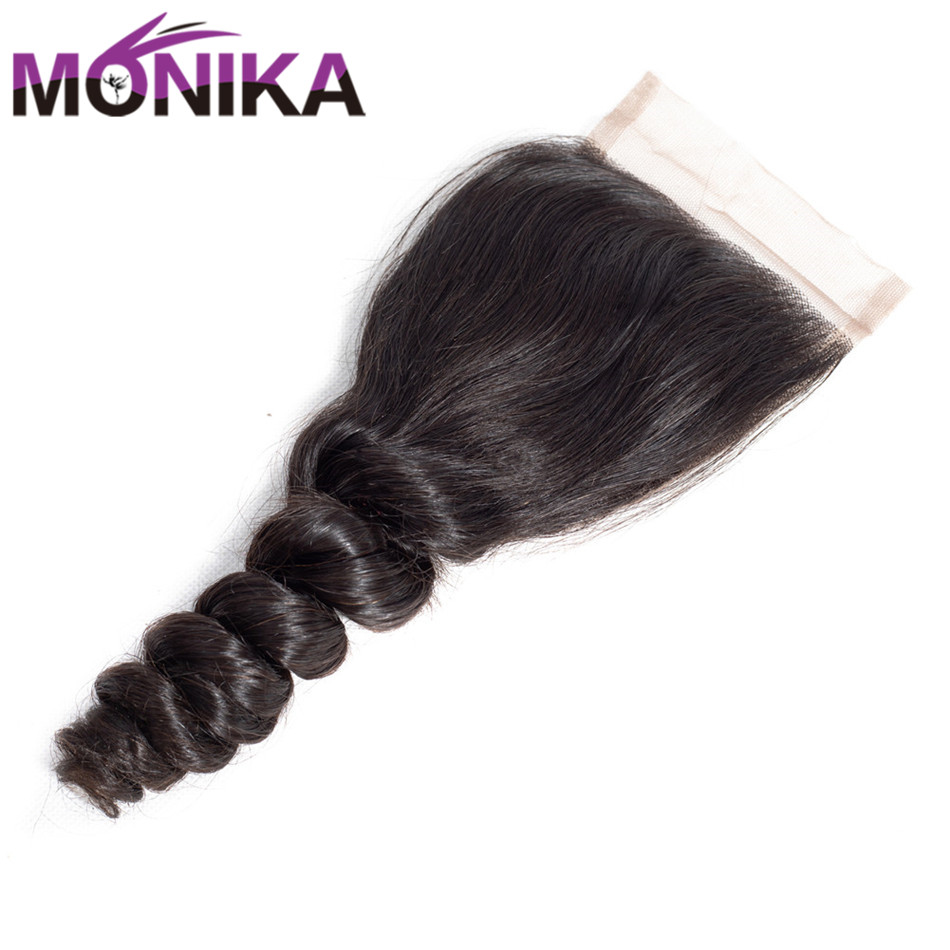 Monika Peruvian Hair Loose Wave Lace Closure Human Hair Non-Remy 4x4 Lace Closure Swiss Lace Natural Color