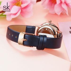 Image 3 - Shengke Fashion New Women Watches Bright Leather Strap Wrist Watch Reloj Mujer 2019 Ladies Quartz Watch Clock Montre Femme#9715