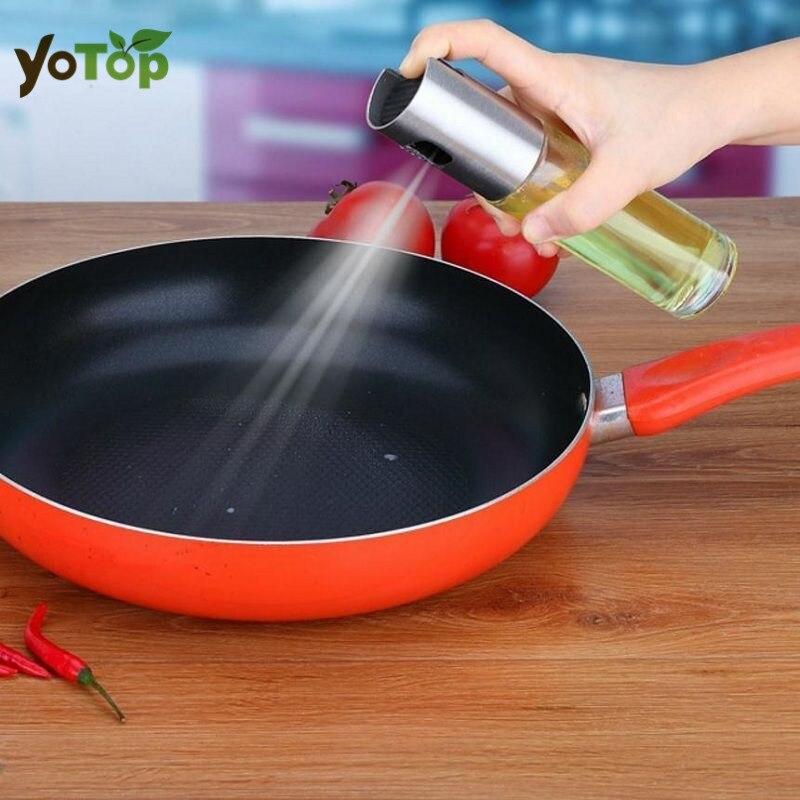 YOTOP 100 ML In Acciaio Inox Vetro di Oliva Pompa Spray Bottiglia di Olio Salsa di Aceto Spruzzatore Pentola di Cottura BARBECUE Pentole Da Cucina strumento