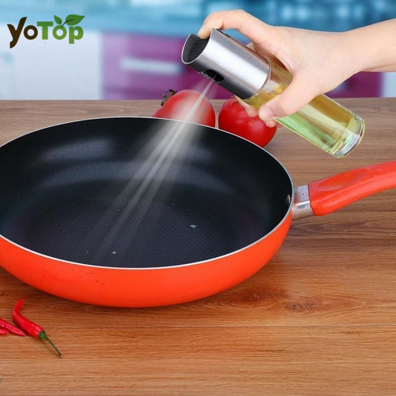 YOTOP 100ML Stainless Steel Glass Olive Pump Spray Bottle Oil Sauce Vinegar Sprayer Pot Cooking Tools BBQ Cookware Kitchen Tool