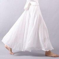 Stlye Women Vintage Skirt Linen Cotton Elastic Waist Pleated Maxi Skirts Beach Boho Long Skirts Summer