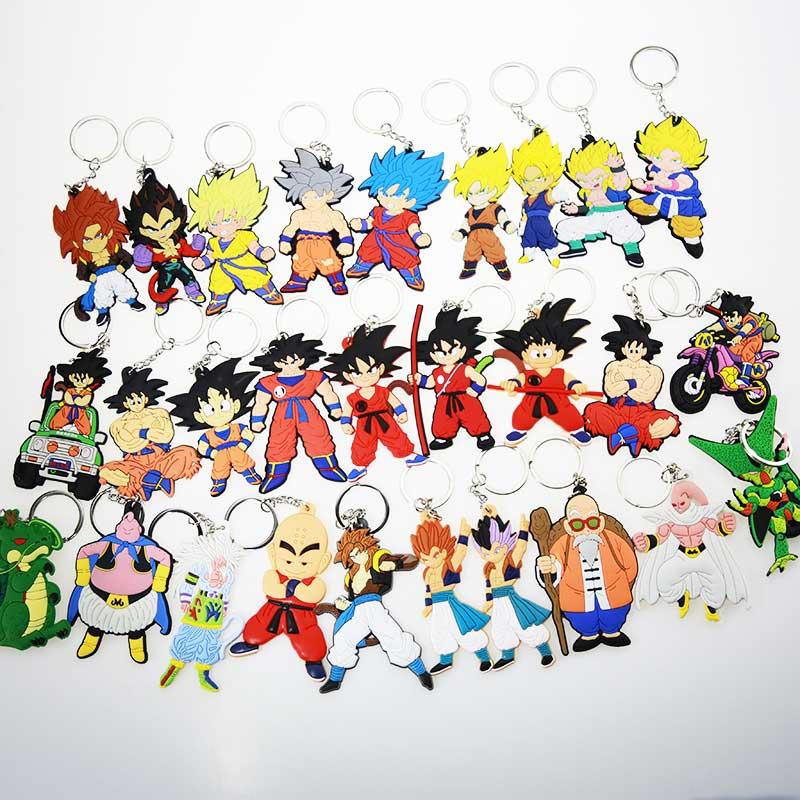 Neue Cartoon Anime Dragon Ball Keychain Sohn Goku Super Saiyan Silikon PVC Keychain Action Figur Anhänger Schlüsselring Sammlung Spielzeug