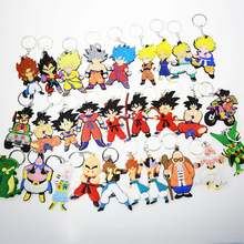 New Cartoon Anime Dragon Ball Keychain Son Goku Super Saiyan Silicone PVC Keychain Action Figure Pendant Keyring Collection Toy(China)