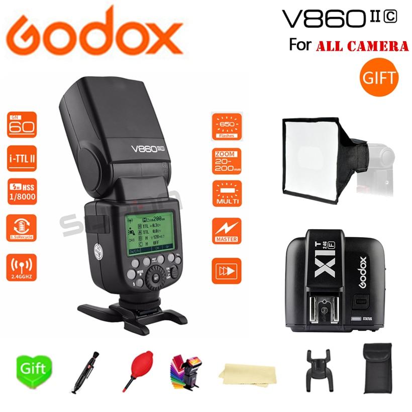 Godox V860II V860II-S/N/C/O/F X-system HSS TTL Li-Battery Flash Speedlite + XIT-C/N/F Trigger for Canon Nikon Sony Fuji Olympus godox x1t s n c f transmitter triggers ttl tt685s n c f gn60 ttl flash speedlite 0 1 2 s recycle time for canon nikon sony