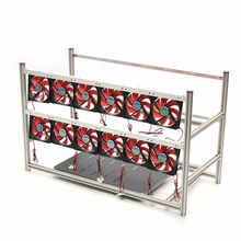 16GPU алюминиевые штабелируемые Box горной платформа с 12 светодиодные вентиляторы Наружной Рамы ETH/zec/Bitcoin