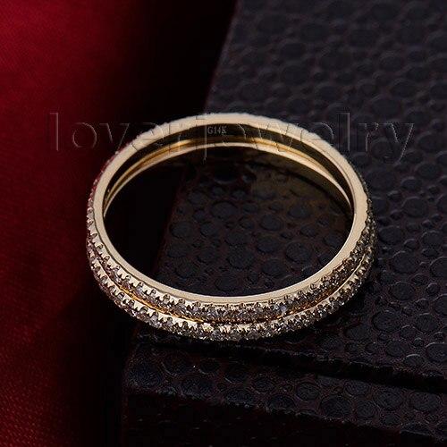 Vintage 14kt Or Jaune Diamant Naturel Deux Engagement Band Anneau De Mariage pour Les Femmes Joaillerie Anniversaire Cadeau R0014