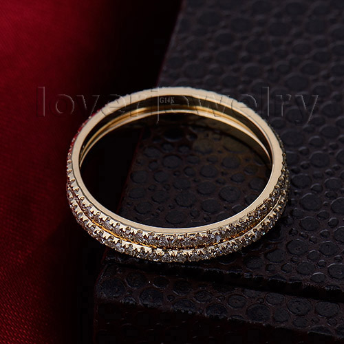 Vintage Solid 14Kt Yellow Gold Natural Diamond Two Engagement Wedding Band Ring for Women Fine Jewelry Anniversary Gift R0014