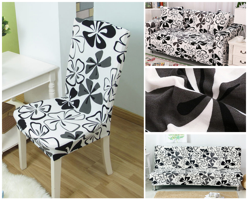 1/2/4/6PCS Kitchen Chair Covers Stretch Seat Covers For Chairs Slipcover Chair house de chaise Furniture Covers Gray Chair cover