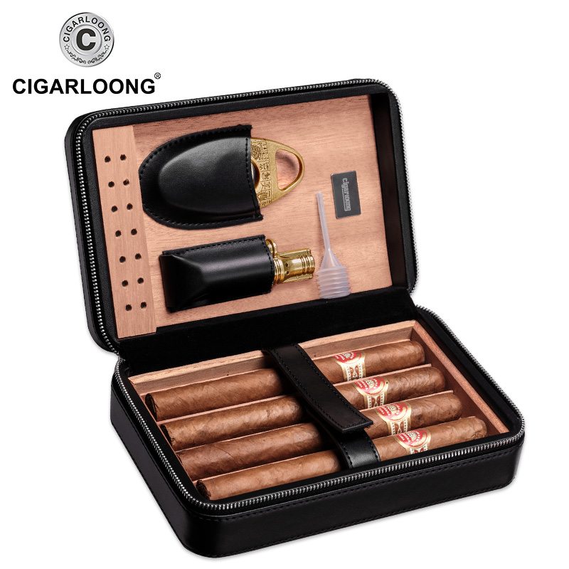 CIGARLOONG сигары коробка для сигар портативный портсигар коробка с сигары резак и ветрозащитный зажигалка HB-1050