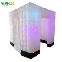 8ft белый с черным дном портативный надувной Photo booth с 8 светодио дный ными лампами огни 16 изменение цвета куб палатка вечерние для свадьбы