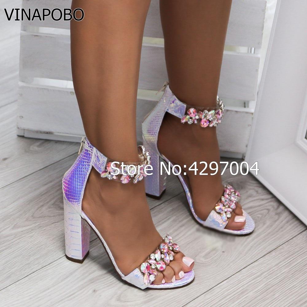 Vinapobo Femmes Picture Chunky Talons Épais Sexy as Pompes Femme Zipper Luxe Bloc As De The Cristal Picture 2018 Sandales Chaussures Talon D'été Strass rxw4r