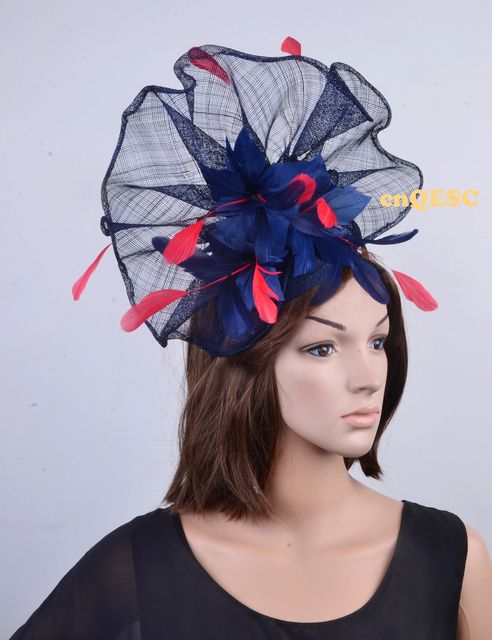 Navy blue red Large feather fascinator sinamay fascinator formal hat  kentucky derby hat wedding hat. 27dd304108b