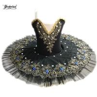 Black Professional Ballet Tutus child Swan lake Ballet Dance Clothes for girls Pancake tutu Child Ballerina Figure Skating Dress