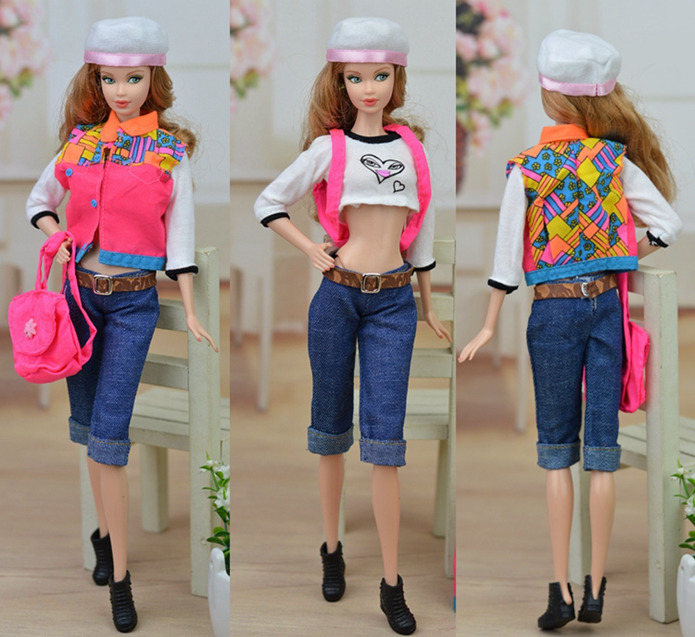 Doll accessories set casual style fashion clothes for barbie doll house jeans t shirt vest