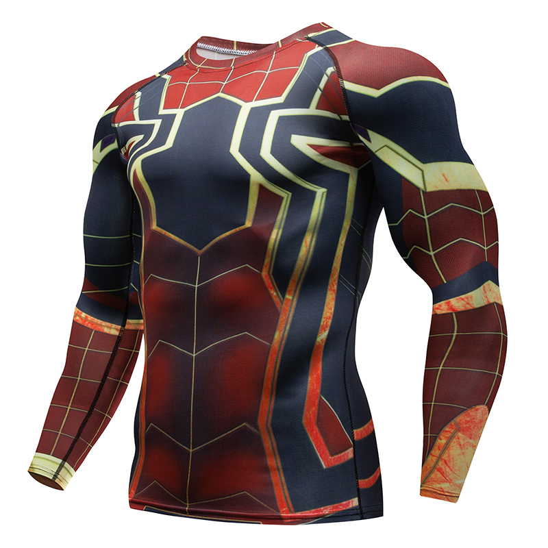 Fitness T-Shirt Rashguard Mens Compression Shirt Long Sleeve 3D Print Raglan Spiderman Top