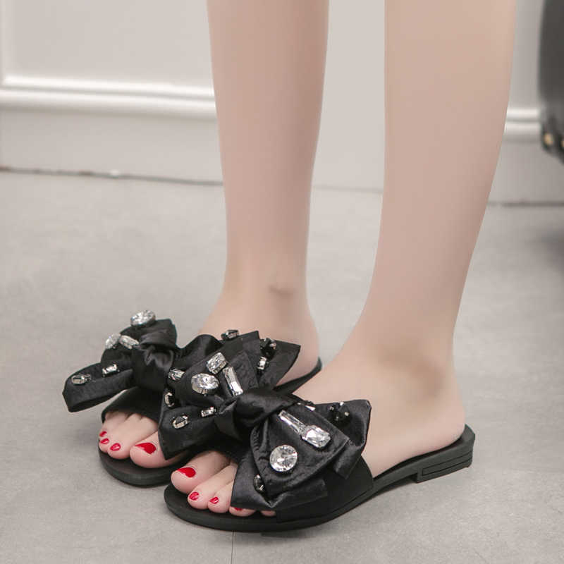 d469a38ebc4 ... 2018 Beach Slides Fashion Solid Women Shoes With Rhinestone Butterfly-knot  Woman Sandals Summer Flats ...