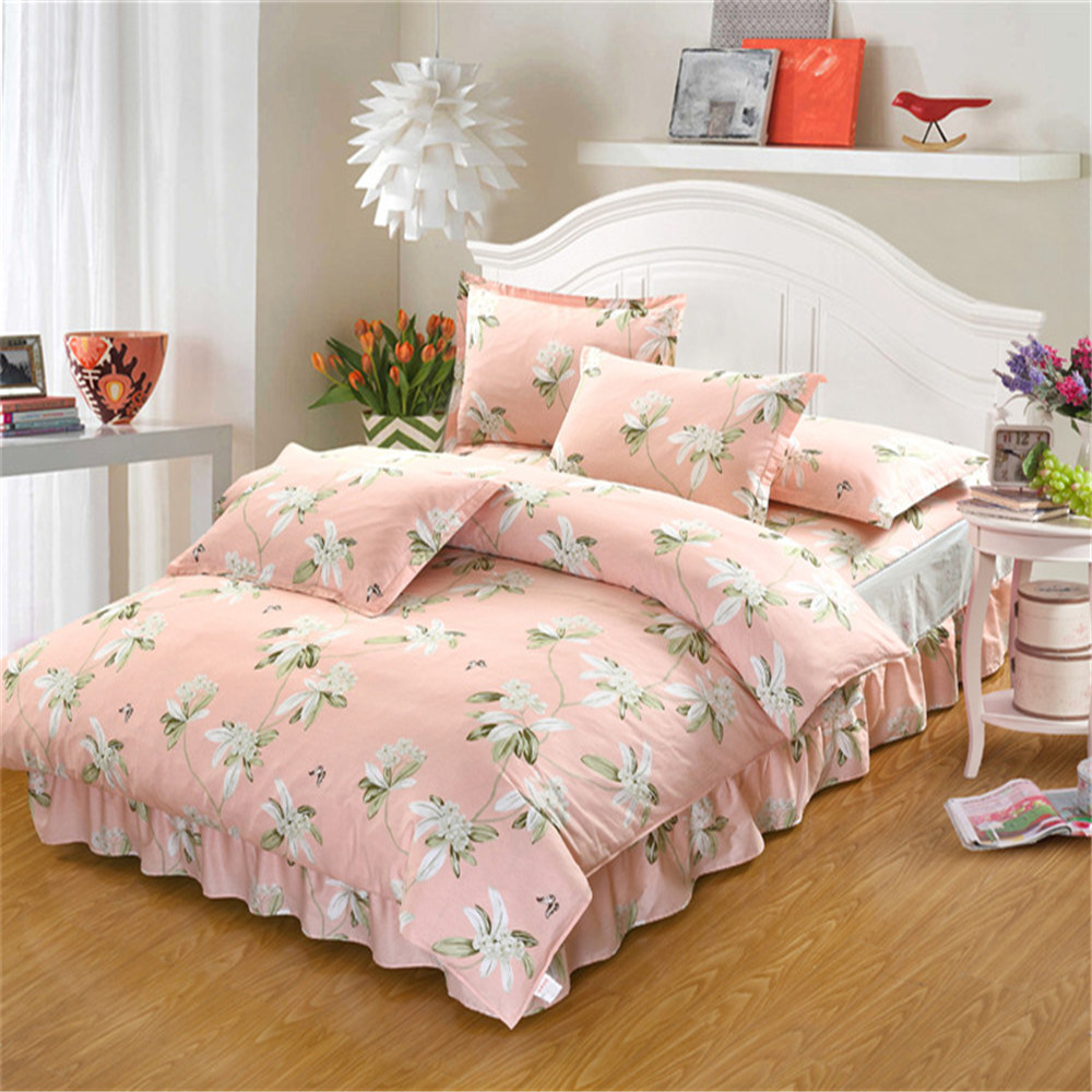 Fashion Pastoral style pink flower cotton bedding sets queen king size kid/adult home textile bed skirt pillowcase duvet coverFashion Pastoral style pink flower cotton bedding sets queen king size kid/adult home textile bed skirt pillowcase duvet cover