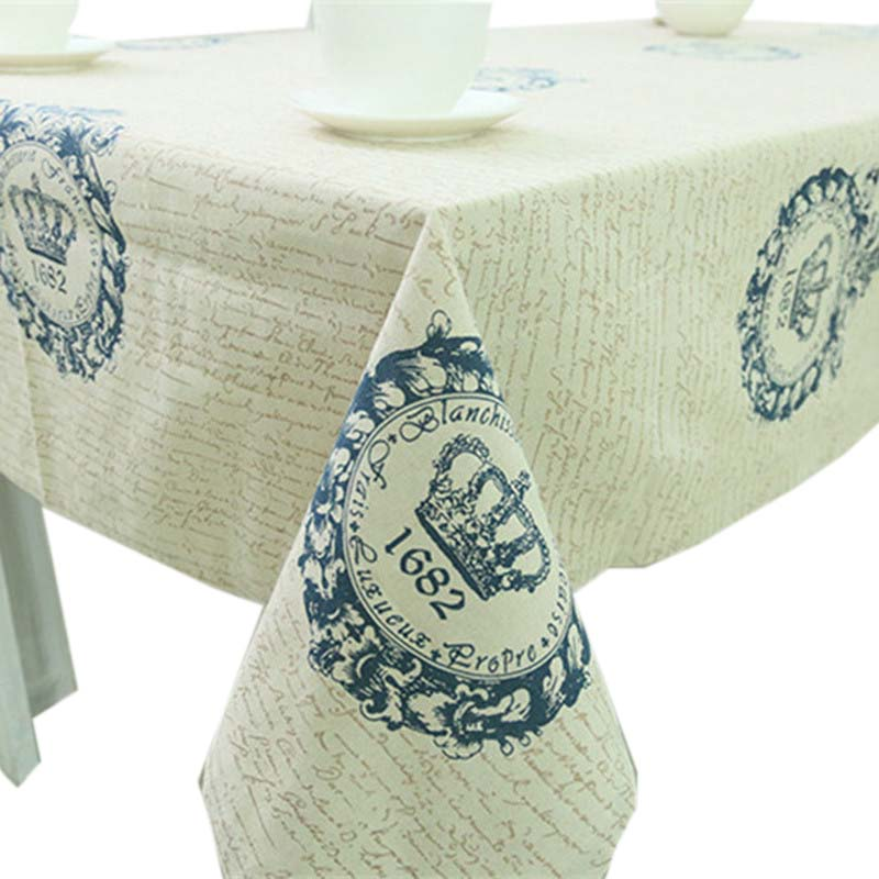 Hot European Style Crown Cotton Linen Lace Dinning Tablecloth Multi Functional Rectangular Table Cloth Party Picnic Outdoor Mat