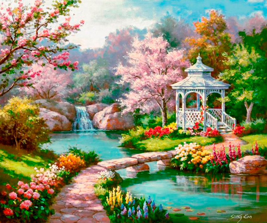 2018 new diy  Diamond Painting scenery mosaic Landscape flowers  painting cross-stitch picture Home decoration need work gift
