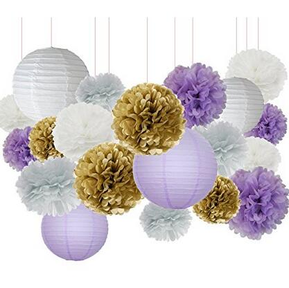 20pcs White Purple Gold Tissue Paper Pom Lanterns Mixed Package For Themed Party Bridal Shower Decor